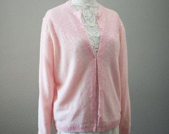 SPRING SALE Pink Sweater with Sequins fits medium-large