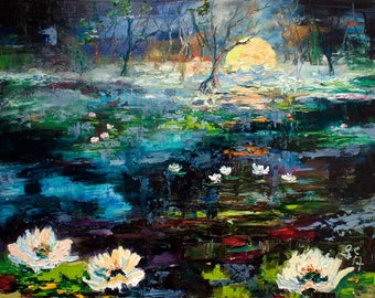 The Beauty Of Black Water Modern Lily Pond Dark Palette Knife Impressionist Oil Painting by Ginette Callaway