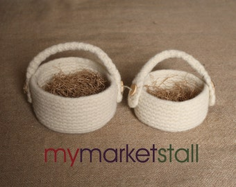 Hand Knitted Basket/Natural/Chocolate Brown/Grey Heather/Tree Branch Buttons/Filled w/Recycled Kraft Shredded Grass/2 Sizes/Ready to Ship