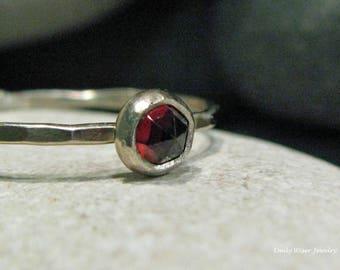 Garnet, 14k white gold hammered stacking ring.