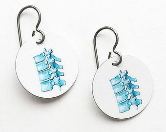 Spine Earrings chiropractor jewelry gift doctor physical therapist chiropractor physician assistant med school student anatomy vertebrae dc