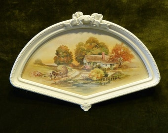 Vintage Plastic Fan Shaped Frame With Bow