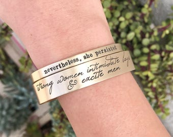 Nevertheless, She Persisted - ACLU Fundraiser - Hand Stamped Cuff Bracelet - Feminism Jewelry