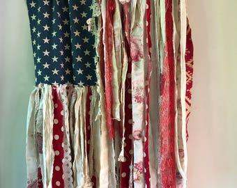 Rag Flag fabric scrap flag porch July 4th red white blue