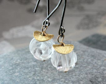 Clear Quartz  Earrings      Gold Filled  Oxidized Silver    Gemstone Jewelry   Mixed Metal Rock Crystal Earrings