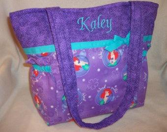 My Little Mermaid diaper bag Purple 3 sizes Weekender twins travel or craft great for Disney trip birthday present over night bag