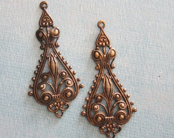 OOAK 2 Ornate Brass Drop Charms 3899J