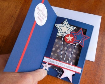 Handmade Military Card: thank you, shadow box, eagle, complete card, handmade, balsampondsdesign, blue, red, white