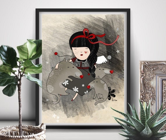 Wolf Art, Wolf Gifts, Girl Wolf Print, Girly Wall Art, Animal Wall Art, Girl Woodland, Feminine Art - Orfilia