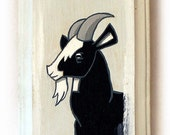SALE Goat Painting - Original Farm Animal Wall Art Acrylic Miniature Painting on Wood by Karen Watkins - Black and White Goat