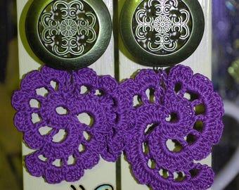Crochet Earrings - Handmade - Puprle  (Ready to ship)