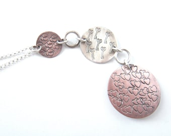 Unlock The Key To My Heart Copper and Sterling Stamped Pendant