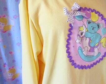 80's pastel sweater, yellow sweatshirt koala rocking horse spank kei vaporwave oversize pullover size XL extra large plus size 2X