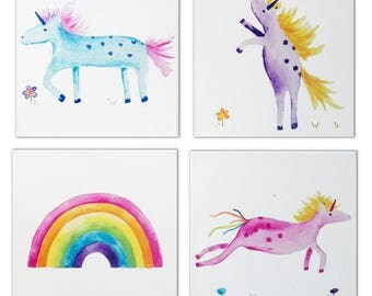 4 Unicorn and Rainbow Paintings / Canvases / Children's Art  / Nursery Decor / Nursery Art
