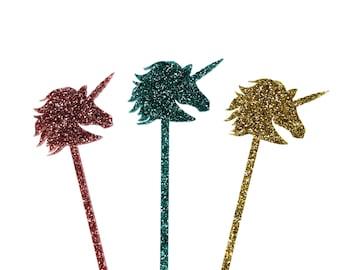 Unicorn Glitter Drink Stirrers, Set of 6 Laser Cut Acrylic Stir Sticks, Unicorn and Rainbow Party