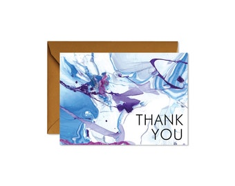 THANK YOU Aqua + Burgundy Marble Art Notecards + Envelopes Pack   Boxed Set (8)   Abstract   Modern