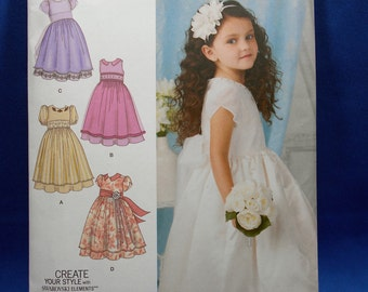 Simplicity 1507, toddlers and childs special occasion dress, girls sewing pattern, sizes 4 to 8