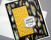 CLEARANCE SALE Men's Birthday Card - Masculine Happy Birthday Card in Black and Gold - For Husband, Boyfriend, Father, Grandfather - Male Bi