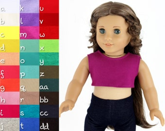 Fits like American Girl Doll Clothes - Cropped Tank Top, You Choose Color, Made To Order
