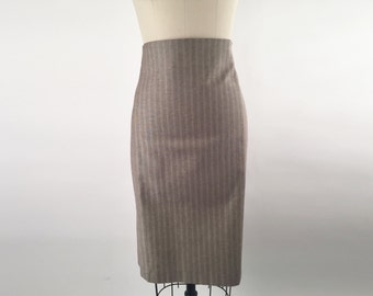 Highwaisted Pencil Skirt Herringbone Cotton Lycra