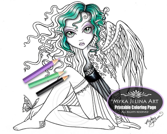 Malory angel digital download coloring page myka jelina art for Myka jelina coloring pages
