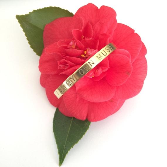 Frida Kahlo Quote Brass Cuff - Muse - Positivity - Uplifting - Adjustable