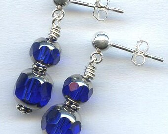 Cathedral Silver Blue Crystal Sterling Silver Earrings