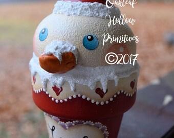 Valentine Love Heart Snowman Primitive Whimsical Folk Art Red Snowcone