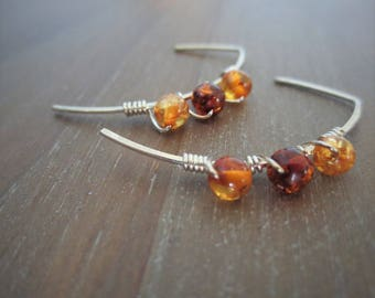 THE MINIMALIST...Sterling Silver and Baltic Amber Hammered Half Hoop Earrings..Boho Chic
