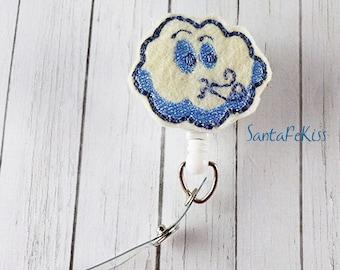 Blue Cloud ID Badge - Embroidered Felt Badge Reel - Retractable ID Badge Holder - Badge Reel Clip, Lanyard Id Badge Holder