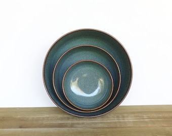 Stoneware Ceramic Nesting Pottery Bowl Set in Sea Mist Glaze, Rustic, Green Blue, Serving Bowls - Set of Three