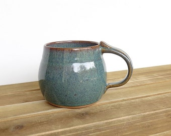 Coffee Mug, Ceramic Stoneware in Sea Mist Glaze - Single Pottery Cup