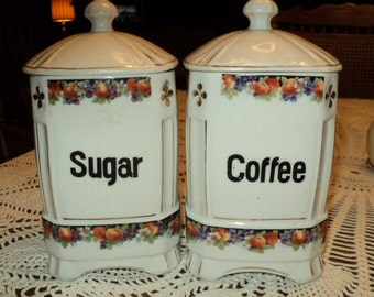 Vintage White Czech Coffee and Sugar Porcelain Canister Set of Two