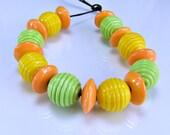 Bright Yellow Green Ribbed Lampwork Bead Set