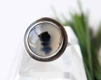 Floating Tree Ring - Montana Agate Stone Ring