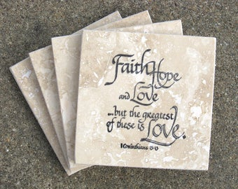 Scripture Coasters - Faith, Hope, Love - Travertine Tile Coasters - Set of 4 - Hand Stamped - Ready to Ship