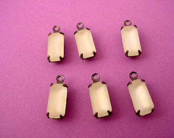 6 Vintage Glass Frosted Crystal Octagon Drop antique brass ox  Charms 10x5