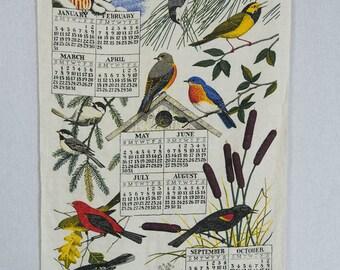 Vintage 1971 Calendar Tea Towel Bird Print Birdhouse Owl Linen Dish Towel
