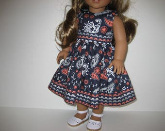 18 Inch Doll Clothes - Navy and Coral Dress with Hairbow made to fit dolls such as American Girl and Maplelea doll clothes