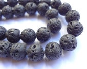 "10mm Round Natural Black Lava Rock Gemstone Beads - 15"" Strand"
