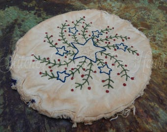 Hand Stitched Americana Double Star Willow Candle Mat - Red White Blue - Primitive - Candle Rug - Patriotic