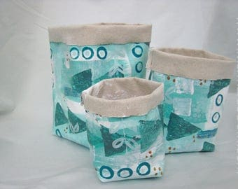 Contemporary Home Storage - Hand painted fabric caddy basket - mint green, white and black
