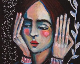 A Show of Hands - Original 6 x 6 inch Portrait Painting