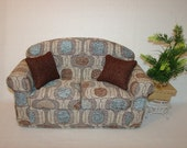RESERVED for haedy2   Doll Couch, 16 Inch Chenille Teal Brown Beige Handmade Furniture