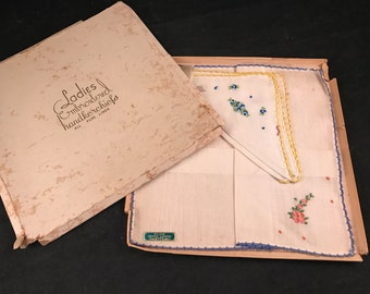 Pair of Vintage New in Box Pink and Blue Embroidery Flowers Pure Irish Linen Ladies' Hankies