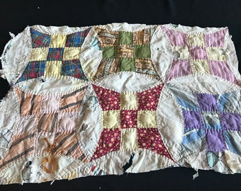 Vintage Hand Quilted Improved Nine Patch Cutter Quilt Piece