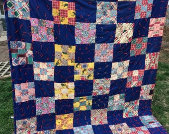 Vintage Hand Tied/Hand Tacked Feedsack Fabric Nine Patch Quilt Set in Cobalt Blue