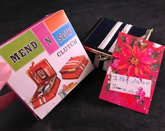 Vintage Mend N Sew Clutch Sewing Kit in Original Bo with Gift Tag