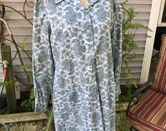 Vintage 1960's Era Blue & Tan Paisley House Dress
