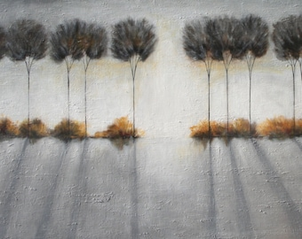 Textured large painting tree art modern art 30 x 48 Gray painting